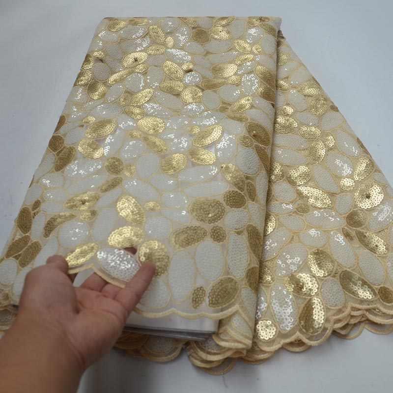 Последние золотые блестки кружевная ткань французская кружевная ткань нигерийская Мода Тюль Чистая кружевная ткань Высокое качество Африканское кружево для свадьбы