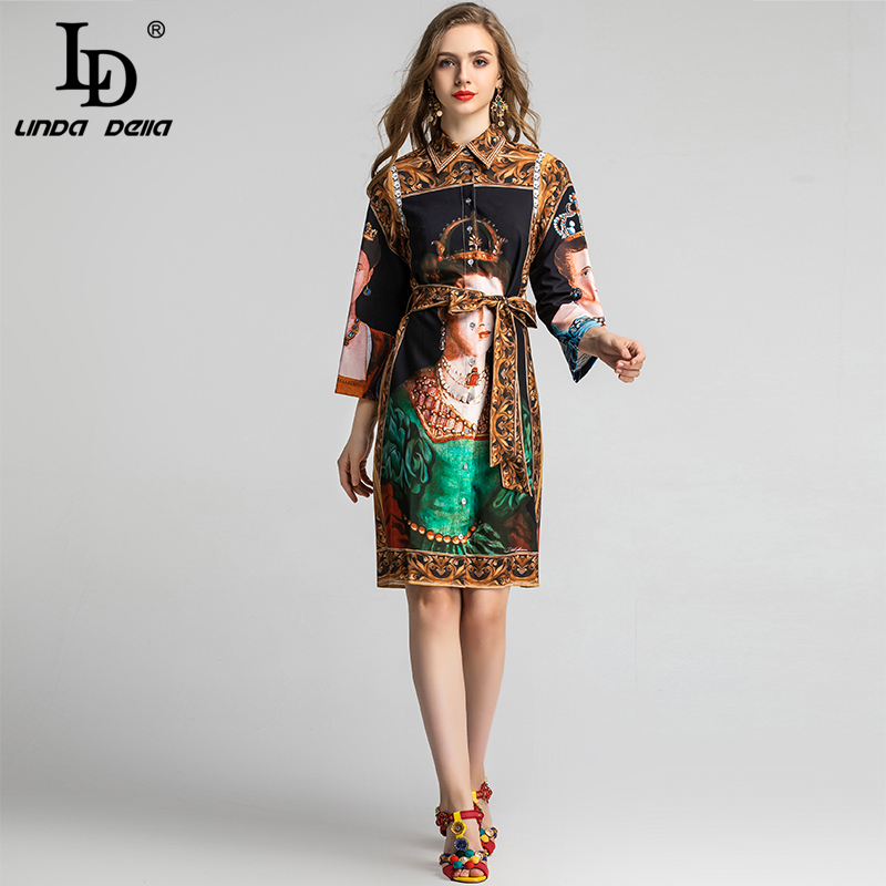 LD LINDA DELLA Spring Fashion Runway Shirt Dress Women's Long Sleeve Gorgeous Retro Queen Art Printed Belted Vintage Loose Dress