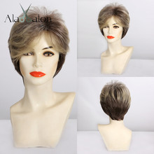 ALAN EATON Ombre Light blonde Brown Black Short Synthetic Hair Wigs for women Afro Haircut Puffy Pixie Cut Wigs Heat Resistant