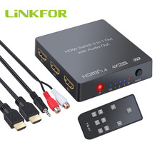 LiNKFOR 4K 3D 1080P PIP Switch HDMI con Audio Extractor Convertitore Analogico Ottico Toslink SPDIF Uscita Con IR A distanza di Controllo(China)