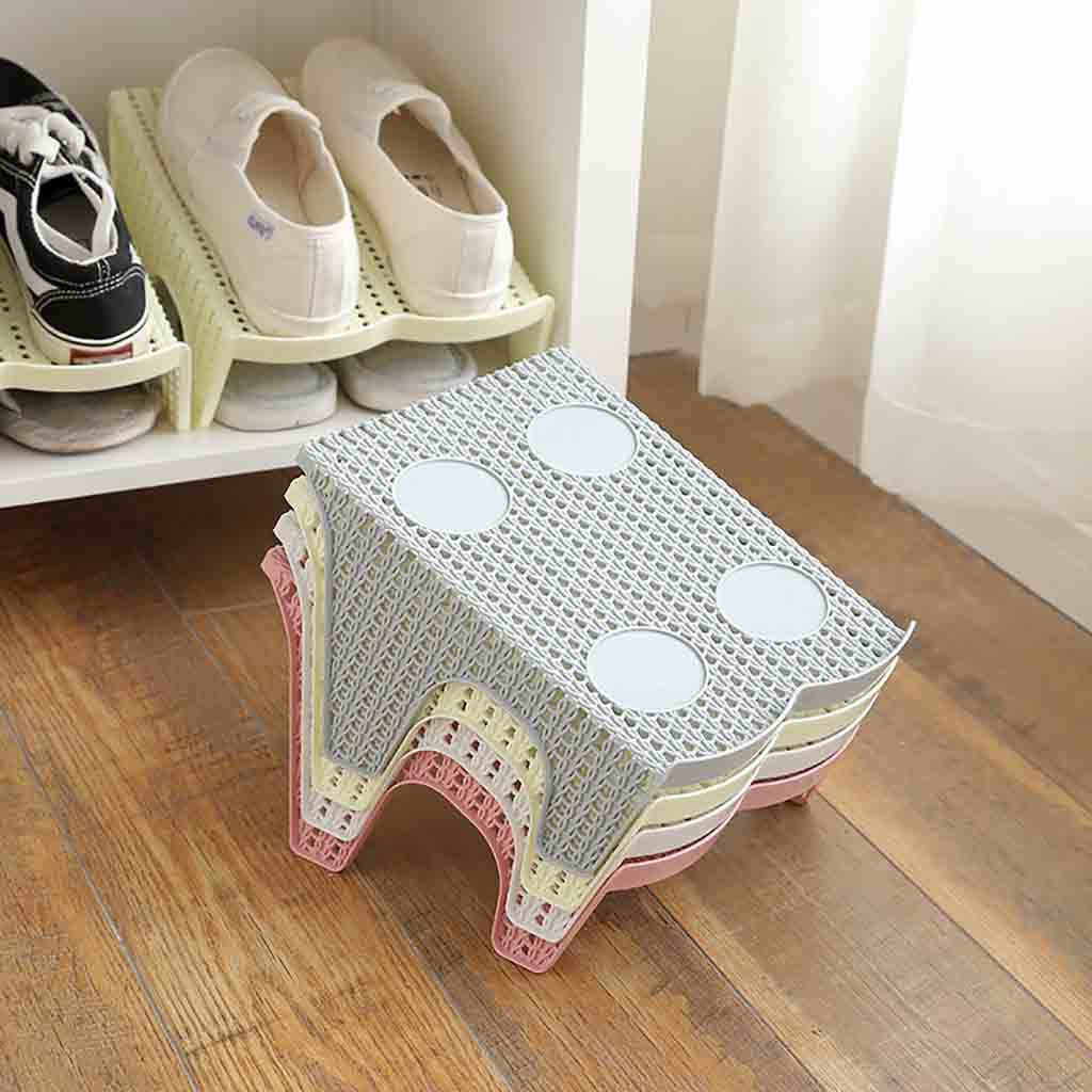 Durable Shoe Slots Double Layer Plastic Space Saver Holder Shoes Box Organizer Storage Footwear Space Saving Cabinet Closet