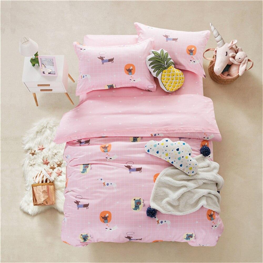 2019 rose Plaids dessin animé chiens literie double reine taille ensemble de literie coton égyptien housse de couette ensemble couvre-lit taies d'oreiller