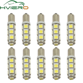 цена на 10X T11 Ba9s T4W 5050 13smd White Auto Auto Led Marker Lamp License Plate Light Festoon Dome Lamp Door Bulb Dc 12v Parking Wedge