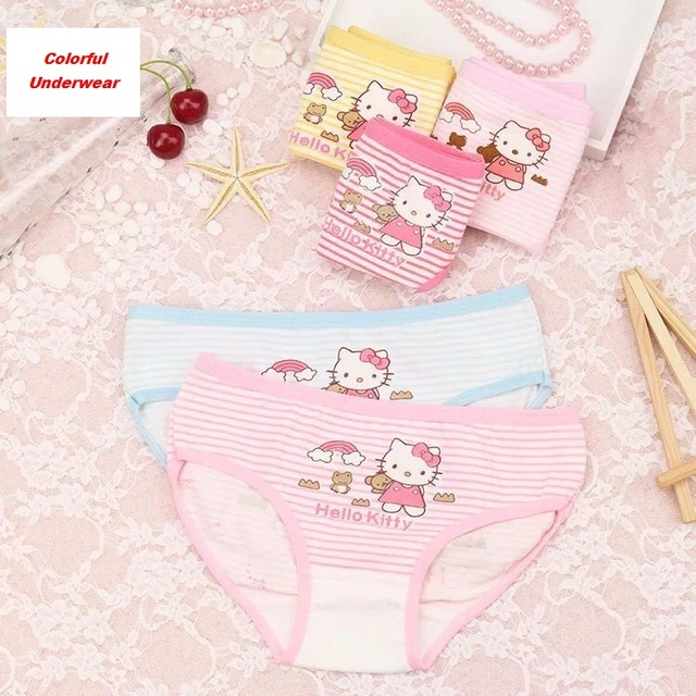 4Pcs/Lot Baby Girls Panties Cotton Underwear Cute Underpants Minne Girl Lace Teenage Cartoon Kids Panties Children Short Briefs
