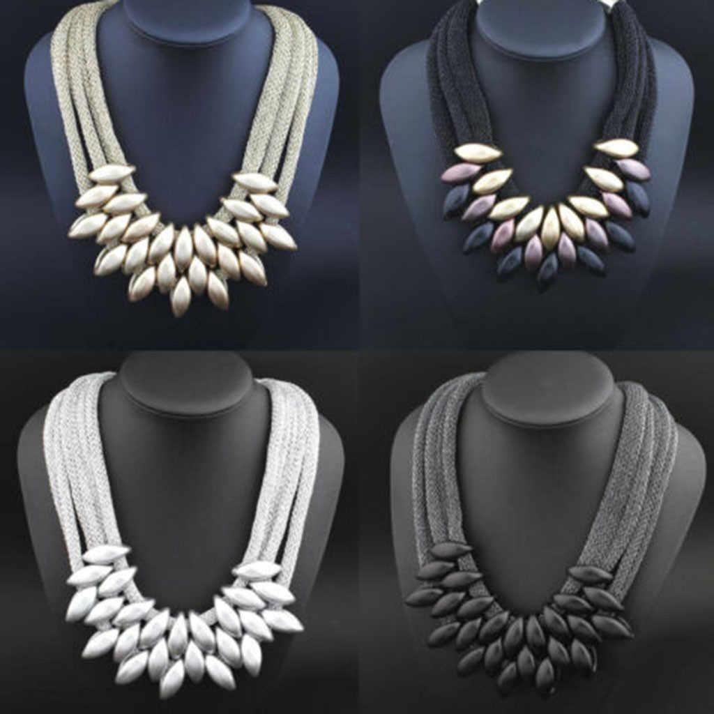 2019 New Fashion Women Lady Choker Statement Bib Knit Necklace Fashion Charm Jewelry Chain Hot sale