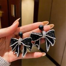 FYUAN-pendientes colgantes de lazo negro para mujer, de estilo coreano, aretes de diamantes de imitación, Fiesta de bodas, accesorios de joyería
