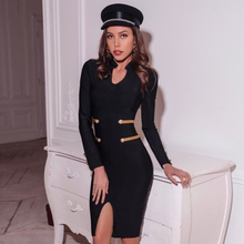 Adyce 2020ใหม่ฤดูใบไม้ร่วงสีดำElegant Celebrityชุดราตรีชุดราตรีผู้หญิงVestidoเซ็กซี่แขนยาวMidi Bodycon Dress