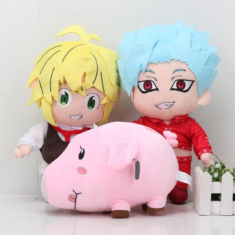 3pcs/Lot The Seven Deadly Sins Nanatsu No Taizai Fox's Sin Of Greed Ban Meliodas Hawk Pig Plush Toys plush Stuffed Doll