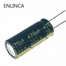 30 개/몫 S61 고주파 낮은 임피던스 250v 470 미크로포맷 알루미늄 전해 커패시터 크기 470 미크로포맷 20%
