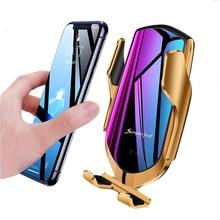 Chargeur de voiture sans fil à capteur intelligent QI 10W support de charge rapide Compatible pour iPhone Xs/Xs Max/XR/X /8, Samsung Galaxy Note 9/ S9