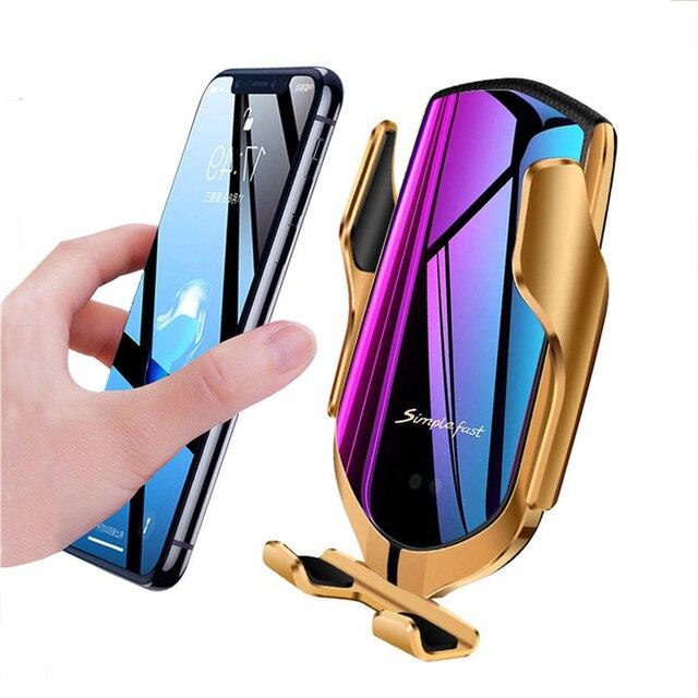 스마트 센서 무선 차량용 충전기 qi 10 w 고속 충전 홀더 iphone xs/xs max/xr/x/8, samsung galaxy note 9/s9 호환