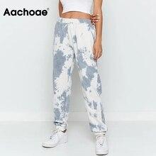 Long-Pants Elastic-Waist Pantalon Casual-Trousers Print Loose Sport-Style Fashion Lady