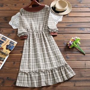 Image 5 - Милое модное клетчатое платье Mori girl, Осеннее Повседневное платье в стиле Питер Пэн с воротником и длинным рукавом для женщин