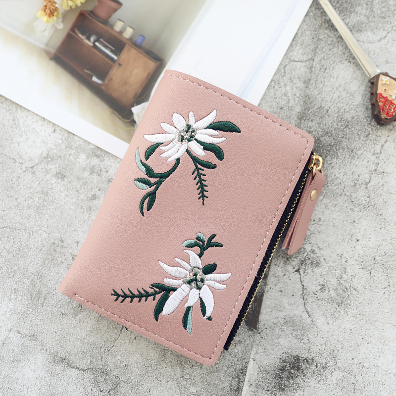 2020 New Embroidery Flower Women Wallets And Purse Cute Students Zipper Wallet Small Leather Wallet Card Holder Coin Money Bag