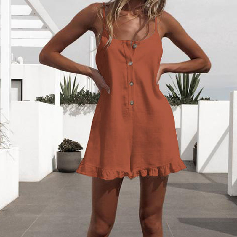Sexy Casual Hem Ruffle Jumpsuits Summer Hot Clothing Jumpsuit New Women Beach Jumpsuit Ropa Mujer