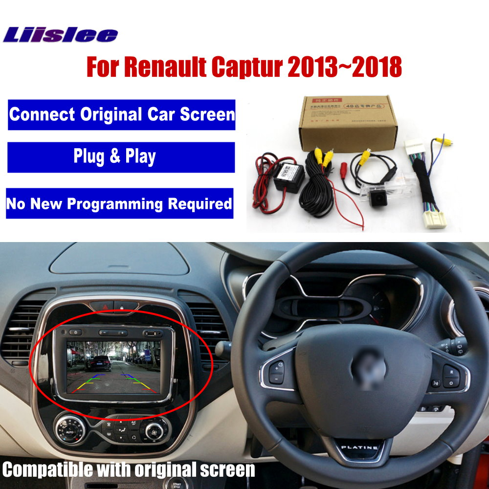 Car Rear View Reverse Camera For Renault Captur 2013 2014 2015 2016 2017 2018 Original Screen RCA Video Adapter Connector
