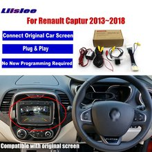 цены Liislee Car Rear View Reverse Camera For Renault Captur 2013~2018 Compatible Original Screen Monitor RCA Video Adapter Connector