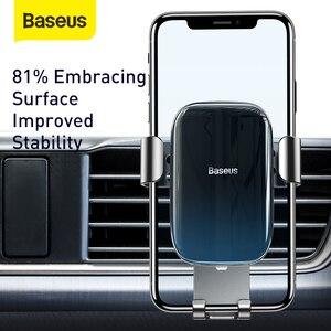 Image 2 - Baseus重力車携帯電話ホルダーユニバーサルカーエアコンセントベントマウントスマートフォン金属車充電スタンド電話ホルダー