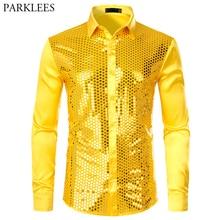 Mens Luxury Sequin Dress Shirts Long Sleeve Silk Satin Shiny Disco Party Shirt Men Chemise Stage Dance Nightclub Prom Costume