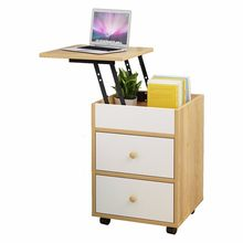 Creative lifting desktop bedside table simple computer desk support removable pulley type office file debris storage cabinet(China)
