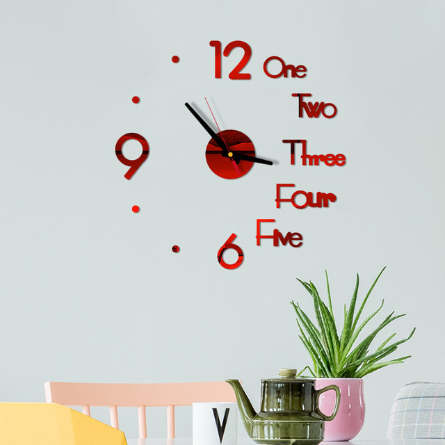 DIY Creative Wall Clock Modern Design Decorative 3D Acrylic Mirror Surface Sticker HomeLiving Room Office Decor Wallclock 20#27 3