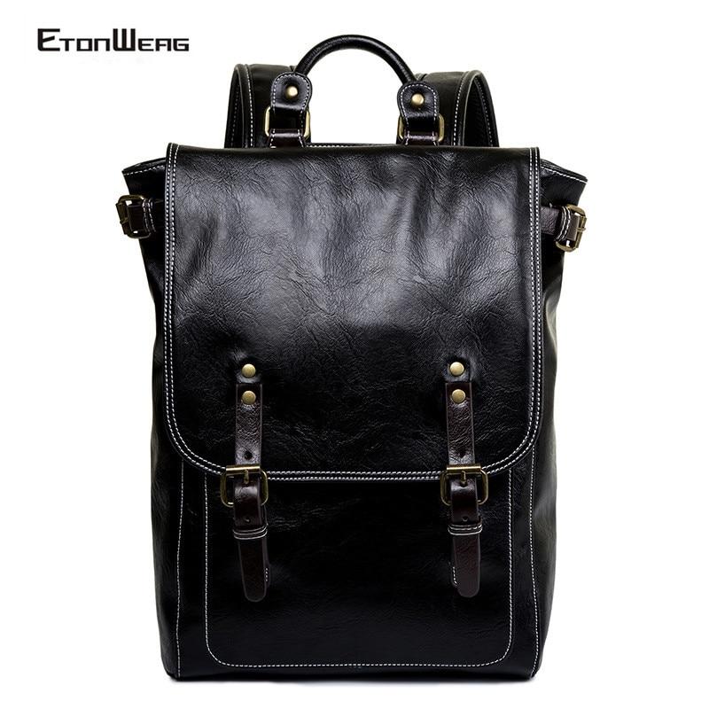 Men Vintage Solid Black Backpack Male Computer Laptop Bag Pack Waterproof PU Leather School Bookbag Leisure Cover Travel Backbag