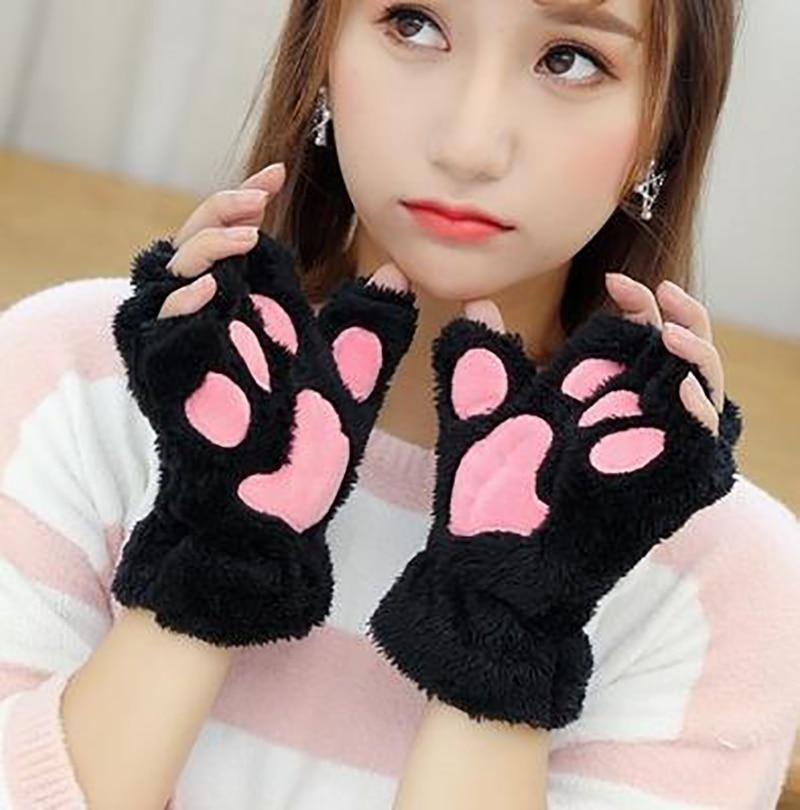 Женские плюшевые перчатки с кошачьими лапами и медведем, зимние рукавицы без пальцев с милым котенком из искусственного меха, перчатки для ...