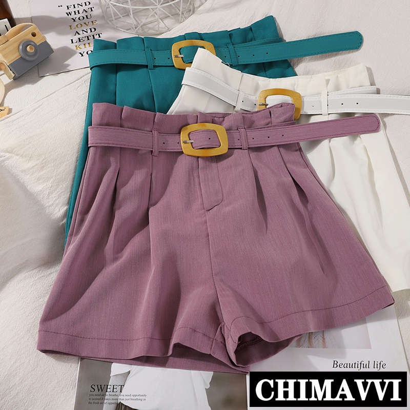 Summer New Female High-Waisted Suit Shorts Korean Loose Wide Leg Pants Women Solid Straight Pants Casual Shorts Students
