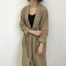 Autumn Women Long Coat Sleeve Solid Bandage Ladies Outwear Slim Pocket windbreaker women trench coat