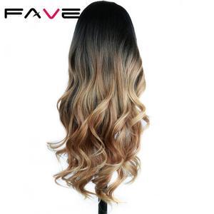 Image 2 - FAVE ארוך גלי פאת Ombre שחור חום בלונד אפור סינטטי שיער חום עמיד סיבי עבור שחור/לבן נשים קוספליי/מפלגה פאות
