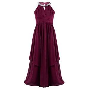 Image 3 - Chifón para niñas grandes, sin mangas, con lentejuelas, cuello Halter, vestido de princesa desfile, boda, cumpleaños, vestido de fiesta de comunión