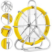 VEVOR 6mm * 425ft przewód z włókna szklanego Rodder taśma wędkarska Reel drut do biegania przewód światłowodowy ściągacz do przewodów z klatką stojak na kółkach