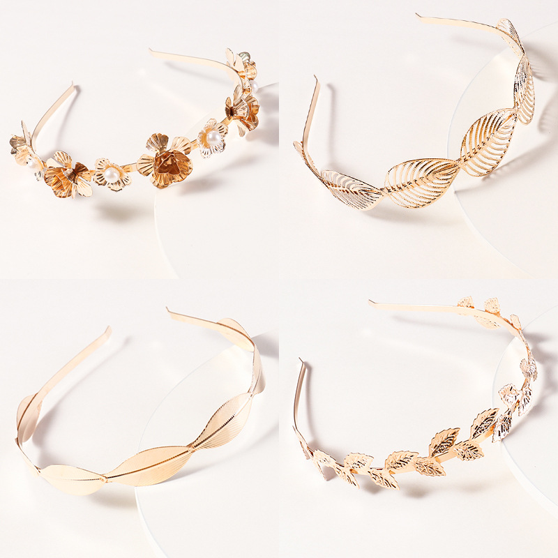 Western Fashion Retro Hair Bands For Women Wedding Metal Gold Leaf Butterfly Hair Headbands Girls Bride Hair Accessories