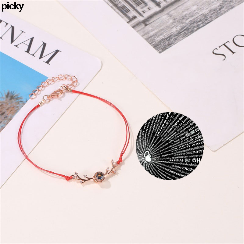 100 languages I love you Red Bracelet for Women Minimalism Adjustable Charm Couple Rope Bracelet best friends Gifts Jewelry image
