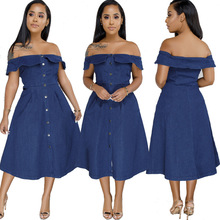 Fashion sexy jeans dress off shoulder long blue flared denim skirt women ruffled summer large size female evening party