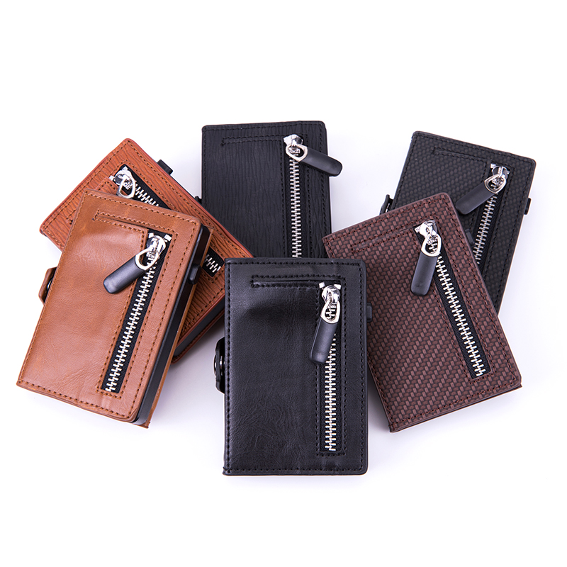 BISI GORO Button Single Box Smart Wallet RFID Credit Card Holder Hasp Men Automatic Card Case Coin Purse 2020 Pop-up Holder