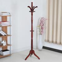 Wooden Coat Rack Floor Stand Clothes Jackets Hanger with Solid Tripod Base