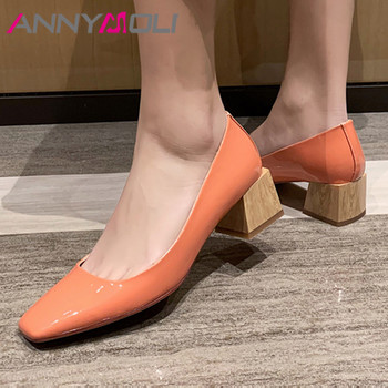 ANNYMOLI Woman High Heels Natural Genuine Leather Pumps  Shallow Thick Heel Shoes Dress Square Toe Ladies Footwear Beige 33-40