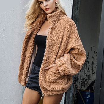 Fitaylor New Spring Women Teddy Bear Coat Stand Collar Loose Plush Jacket Zipper Solid Warm Outwear Faux Lamb Coats 1