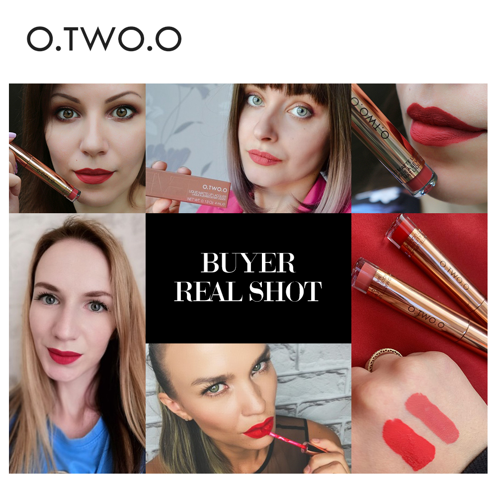 O.TWO.O Matte Lipstick Liquid Waterproof Long Lasting Velvet Lip Gloss Makeup Smooth Pigment Lip Tint Red Lips Cosmetics 4