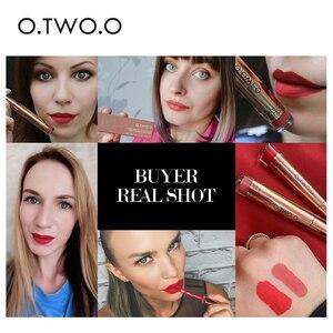 Image 4 - O.TWO.O lápiz labial mate líquido resistente al agua de larga duración de terciopelo brillo de labios maquillaje suave pigmento labial tinte labios rojos cosméticos