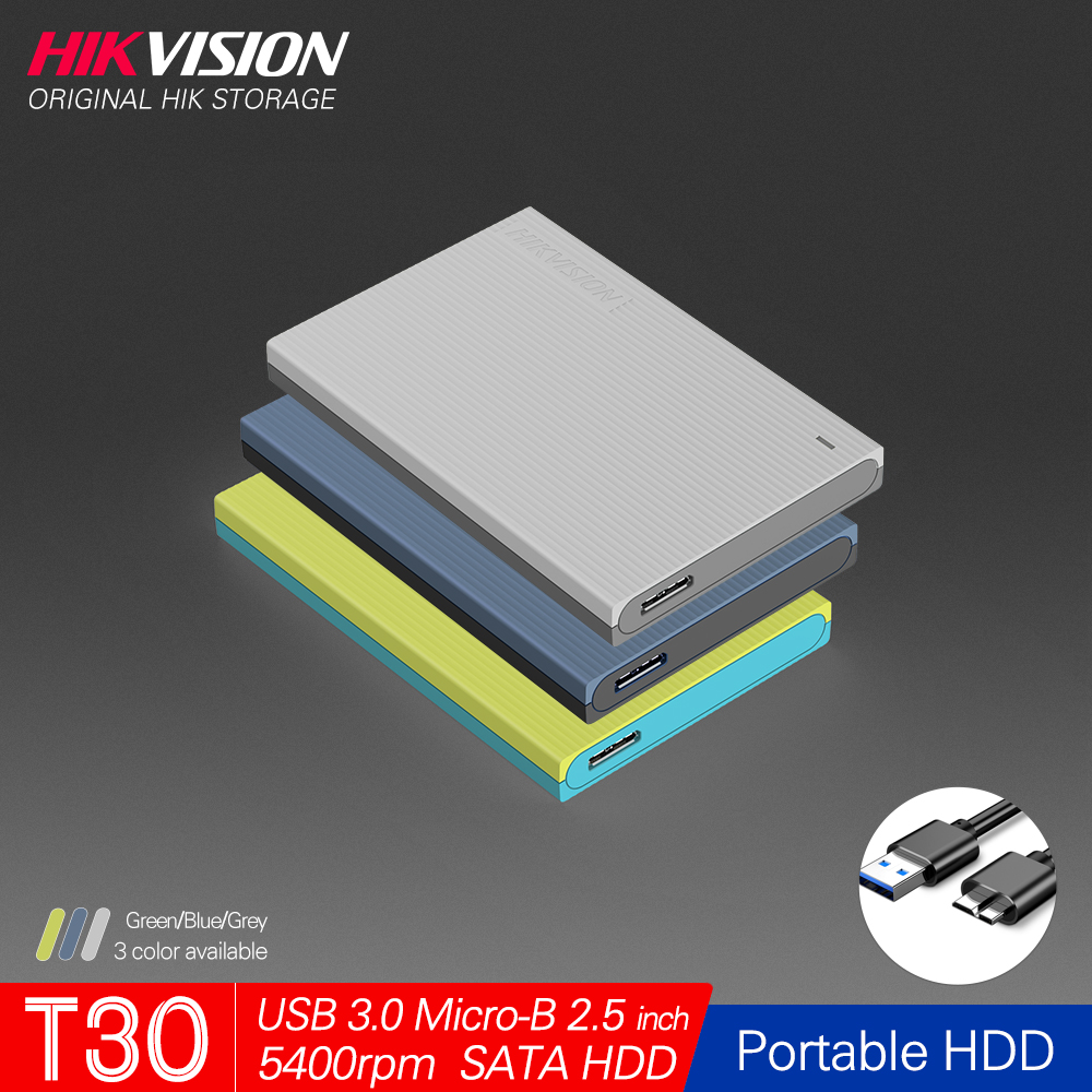 Hikvision 1TB Portable Hard Disk Drive External 2TB HDD USB3.0 Micro B Mobile External Storage for PC laptop HikStorage HDD T30
