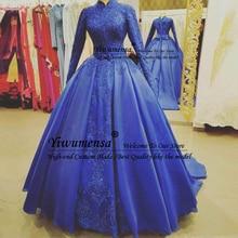 Abiye Gece Elbisesi, королевское синее мусульманское вечернее платье, длинное, на заказ, на выпускной, женские вечерние платья с бантом, robe de soiree