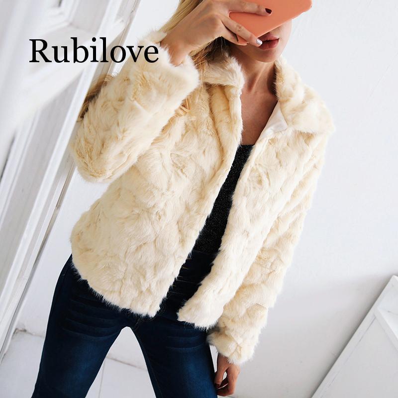 Rubilove Women Coat Jacket Winter Warm Long Sleeve Turn Down Collar Beige Hairy Greatcoat Elegant Female Casual Fur Jacket Outer