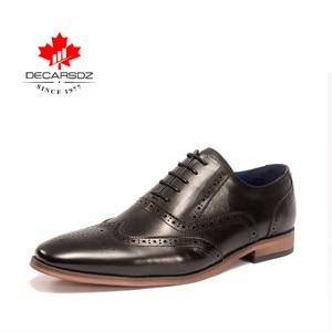 Image 3 - DECARSDZ גברים מלא גרגרים עור אמיתי נעלי גברים מותג אוקספורד גברים נעלי אופנה חדש יוקרה שמלת נעלי גברים פורמליות נעליים