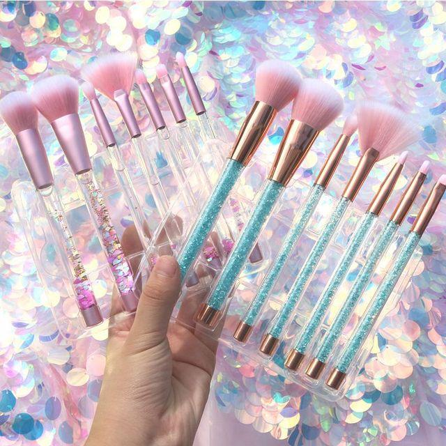 7 Pcs Glitter Diamond Crystal Handle Makeup Brushes Set Powder Foundation Eyebrow Face Make Up Brush Cosmetic Foundation Brush
