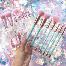 Juego de 7 Uds de brochas de maquillaje con mango de cristal y purpurina, para base de maquillaje en polvo, cejas, brocha cosmética para maquillaje