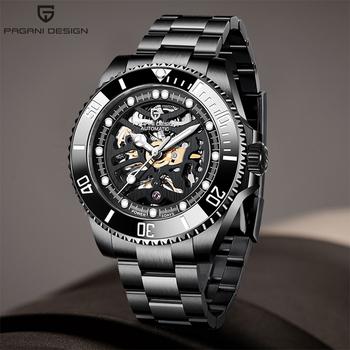 Automatyczny zegarek męski PAGANI DESIGN Luxury Brand 2020 nowy mechaniczny zegarek mody Hollow męski zegarek sportowy relogio masculino tanie i dobre opinie 10Bar Składane bezpieczne zapięcie Luxury ru Samoczynny naciąg STAINLESS STEEL podświetlenie Odporna na wstrząsy Odporne na wodę