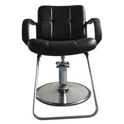 Silla de barbería de mujer 8837 Silla de peluquería negra de cuero de hierro esponja de barbero asiento cómodo de altura ajustable