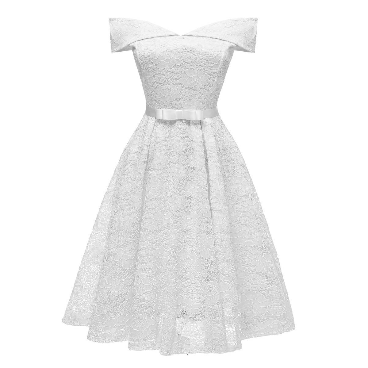 A-Line V Neck Off Shoulder Lace Knee-length Lace Bridesmaid Dress 2